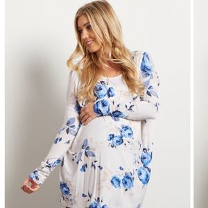 Pinkblush Tops - Pinkblush Ivory Blue Rose Floral Maternity Top
